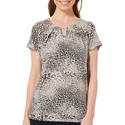 Notations Womens Metallic Leopard Print Keyhole Top