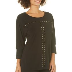 Notations Womens Embellished Dolman Top