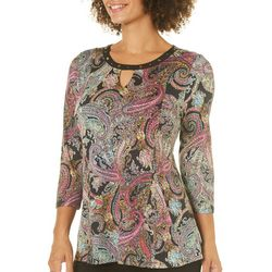 Notations Womens Embellished Paisley Keyhole Top