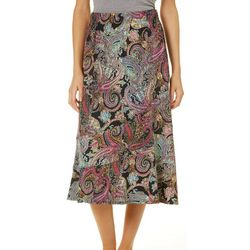 Notations Womens Paisley Print Pull On Skirt