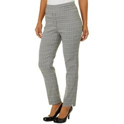 NY Collection Womens Plaid Slim Fit Pull On Pants