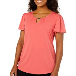 Notations Womens Solid Flutter Sleeve Keyhole Top