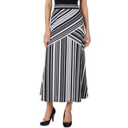 Notations Womens Flare Stripe Maxi Skirt