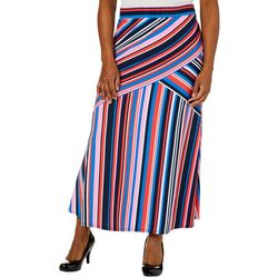 Notations Womens Flare Stripe Maxi Skirt