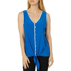 Notations Womens Front Tie Button Down Sleeveless Top