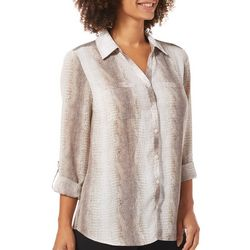 NY Collection Womens Snake Print Button Down Top