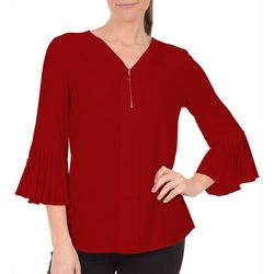 NY Collection Womens Pleated Bell Sleeve Zip Top