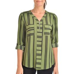 NY Collection Womens Striped Roll Tab Zip Top