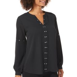 NY Collection Womens Embellished Notch Neck Sheer Top