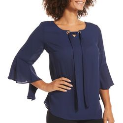 NY Collection Womens Bell Sleeve Tie Neck Top