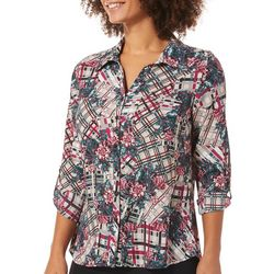 NY Collection Womens Floral Plaid Button Down Top