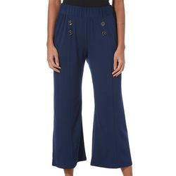 Notations Womens Solid Button Palazzo Pants