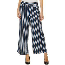 Notations Womens Stripe Button Palazzo Pants