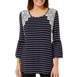 Notations Womens Striped Crochet Bell Sleeve Top