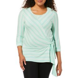 Notations Womens Striped Side Tie Top