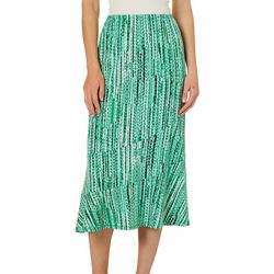 Notations Womens Wavy Stripe Pull On Skirt