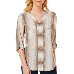 NY Collection Womens Snake Print Zip Neck Roll Tab Top