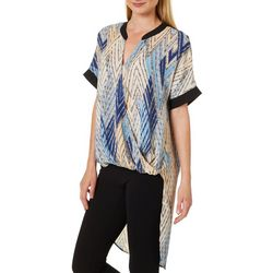 NY Collection Womens Geometric Print High-Low Wrap Front Top