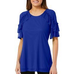 NY Collection Womens Solid Ruffle Sleeve Top