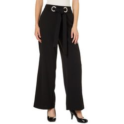 NY Collection Womens Tie Front Wide Leg Pants