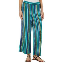 Notations Womens Striped Wide Leg Pull On Pants