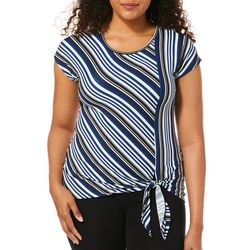 Notations Womens Striped Side Tie Short Sleeve Top