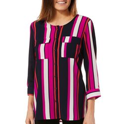 NY Collection Womens Striped Roll Tab Button Down Top