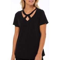 Notations Womens Solid Cut Out V-Neck Top