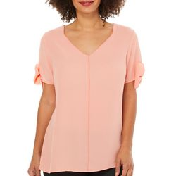 NY Collection Womens Solid Bow Sleeve Top
