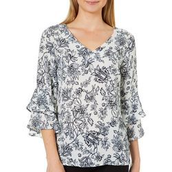 NY Collection Womens Floral Ruffled Bell Sleeve Top