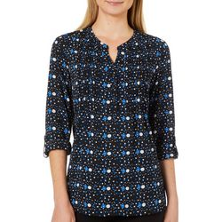 NY Collection Womens Dot Print Roll Tab Top