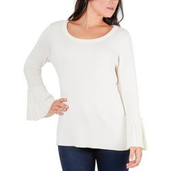 NY Collection Womens Solid Bell Sleeve Sweater
