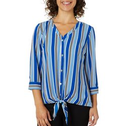 NY Collection Womens Striped Button Down Tie Front Top