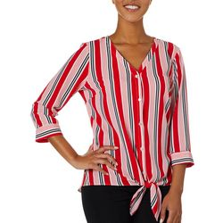 NY Collection Womens Striped Tie Front Button Down Top