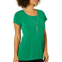 Notations Womens Necklace & Solid High-Low Short Sleeve Top