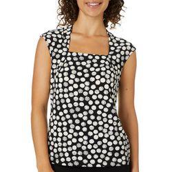 Kasper Womens Polka Dot Pleated Cap Sleeve Top