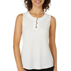 Kasper Womens Solid Button Placket Sleeveless Top
