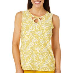 Kasper Womens Floral Criss Cross Keyhole Sleeveless Top