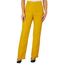 Kasper Womens Solid Linen Straight Leg Pants