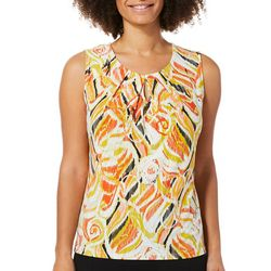 Kasper Womens Geo Print Keyhole Sleeveless Top