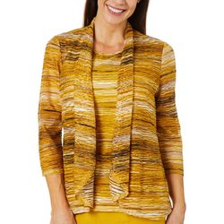 Kasper Womens Embroidered Waves Striped Cardigan