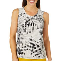 Kasper Womens Waffle Print Pleated Neckline Sleeveless Top