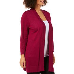 Kasper Womens Ribbed Trim Longline Cardigan