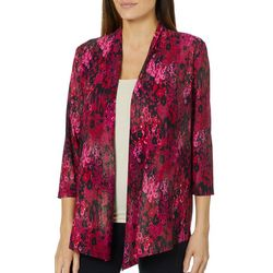 Kasper Womens Abstract Foil Open Front Cardigan