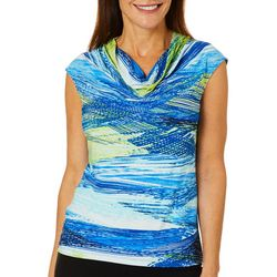 Kasper Womens Ocean Stripe Drape Neck Top