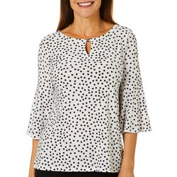 Kasper Womens Dot Print Bell Sleeve Top