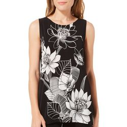 Kasper Womens Floral Print Sleeveless Top Top