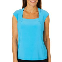 Kasper Womens Solid Square Neck Cap Sleeve Top