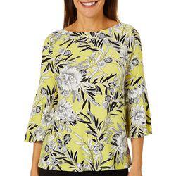 Kasper Womens Floral Puff Print Bell Sleeve Top