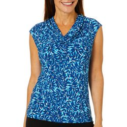 Kasper Womens Tropical Leaf Print Drape Neck Top